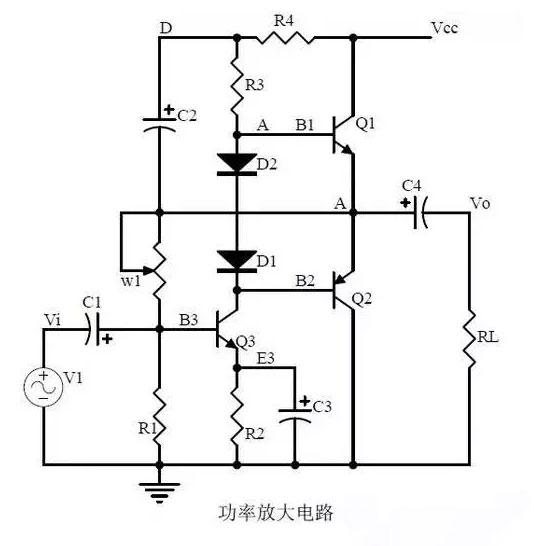 电路 1,乙类功率放大器的工作过程:     交越失真: 2,复合三极管的
